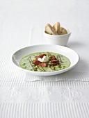 Moroccan pea soup with Merguez sausage and mint