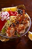 Grilled shrimp with salad