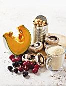 Squash slices, chickpeas, mushrooms, couscous and cherries