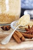 Brown sugar, star anise and cinnamon sticks