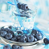 Mineral water with blue berries