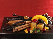 Assorted spices and candied fruit