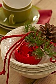 A plate with Christmas decorations
