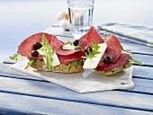 Salami platter with feta, olives and rocket