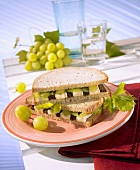 Sandwich with cheese, celery and grapes
