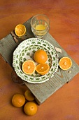Slice orange with orange juice glass