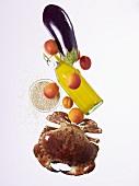 Crab, apricots, orange juice and eggplant