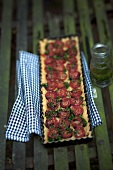 Tomato tart with herb oil