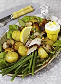 Chicken salad with potatoes, green beans and lemon yogurt