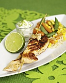 Salmon kebabs with chili, vegetables and lime dip