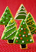 Christmas cookies shaped like Christmas trees,