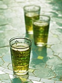 Peppermint tea in decorated glasses