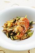 Jumbo shrimp kebabs with wokked vegetables
