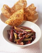 Rhubarb compote with sweet chips