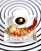 Jumbo shrimp with sesame seeds and soy-wasabi dip
