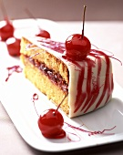 Cherry cake with red caramel and with a marzipan crust