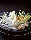 Raw vegetables with fish