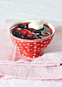 Red fruit jelly with blackberries