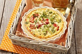 Quiche with lima beans and roasted peppers