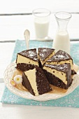Biscuit cake with chocolate cream