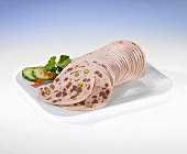 Sliced German mortadella