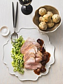 Sweet and sour roast turkey with bread dumplings and red wine shallots