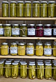 Preserved vegetables in screw top jars