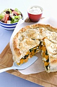 A puff pastry vegetable pie