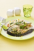 Fish steaks with coriander and vegetable rice