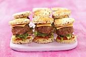 Slider; Mini Cheeseburger with Lettuce