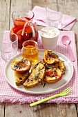 Grilled pineapple and nectarines with rosemary and honey