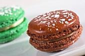 A chocolate macaroon and a green macaroon