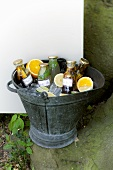 Various drinks in an ice bucket for a picnic
