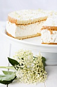Elderflower cream cake, sliced