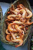 A basket of fresh prawns