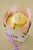 Lemon biscuits with silver balls as a gift