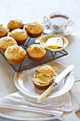 Scones with butter and tea