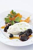 Vanilla foam with candied dates and oranges