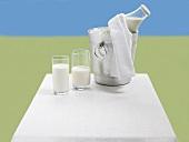 Milchgläser und Milchflasche im Eiskübel