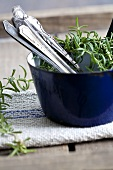 Cutlery and rosemary in a pot