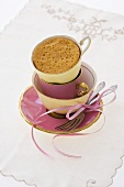 Steamed pudding in coffee cups