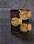 Pearl barley soup with meatballs and corn and pearl barley bread