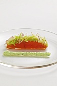 Smoked salmon with grated apple and radish and herb cream