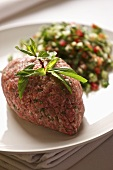 Kibbeh nayeh (minced lamb) with tabbouleh (Lebanon)