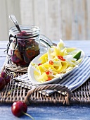 Mango salad and preserved cherries