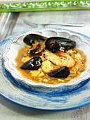 Arroz caldoso (rice stew, Spain) with mussels and prawns