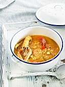 Arroz caldoso (rice stew, Spain) with seafood