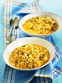 Arroz meloso (rice dish, Spain) with stockfish and cauliflower