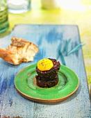 Butifarra negra (Catalan sausage specialities) with quail's eggs