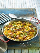 Paella Valenciana with green beans (Spain)